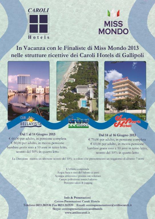 Finale Miss Mondo 2013 con Caroli Hotels